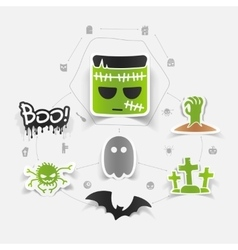 Halloween sticker concept vector image