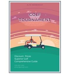 Golf Tournament Flat Poster vector image