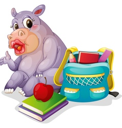 a buffalo with school bag vector image vector image