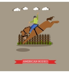 American rodeo rider tries dressage horse vector