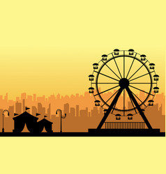 At sunset amusement park scenery silhouette vector