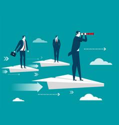 Businessman standing on paper plane vector