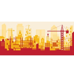 Construction skyline scene red background vector
