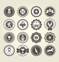 emblems blazons and heraldic badges - round labels vector image vector image