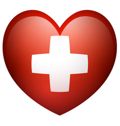 Flag of switzerland in heart shape vector