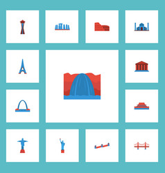 Flat icons courthouse coliseum bridge and other vector