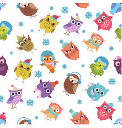 funny winter owls seamless pattern vector image vector image