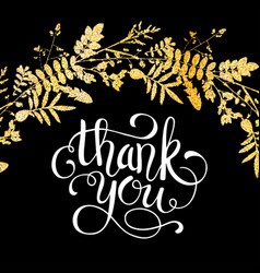glitter golden leaves card with thank you hand vector image vector image
