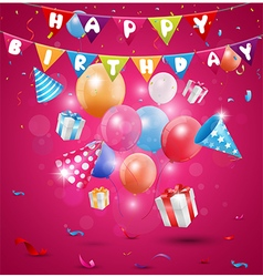 Happy birthday celebration with confetti and ribbo vector image vector image
