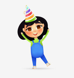 happy young girl character with birthday cone vector image