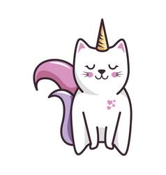 isolated magic cat unicorn vector image vector image