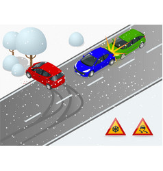 Isometric winter slippery road car accident the vector