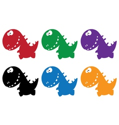 Little funny dino color vector
