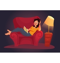 Living room with woman flat vector