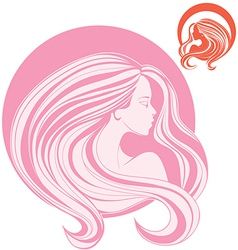 minimalistic stylization of womans head in side vector image vector image