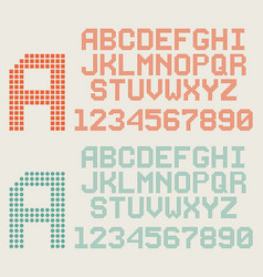 retro font pixel letters and numbers dotted vector image vector image