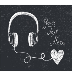retro hand drawn doodle headphones vector image vector image