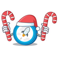Santa with candy stellar coin character cartoon vector
