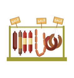 Sausages counter display or butcher shop meat vector