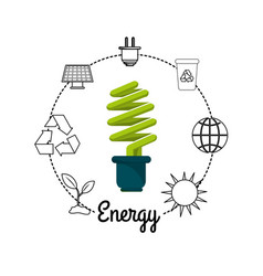 Save bulb with environment symbols to care planet vector