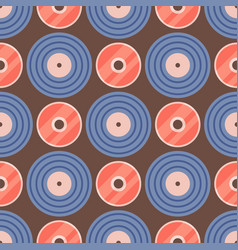 seamless pattern retro vinyl musical record audio vector image