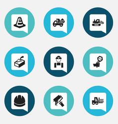 Set of 9 editable building icons includes symbols vector