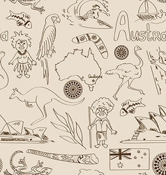 Sketch Australia seamless pattern vector image