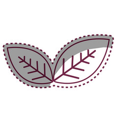 Sticker leaves environment care icon vector