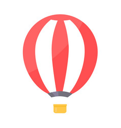 striped air balloon withbasket vector image