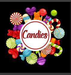 sweet candies promotional poster with tasty vector image vector image