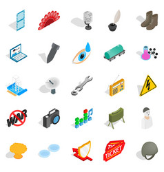 Technical work icons set isometric style vector
