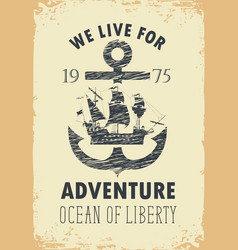 travel banner with anchor and sailboat vector image