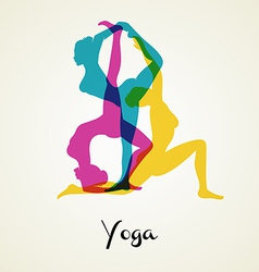Yoga poses silhouette vector image vector image