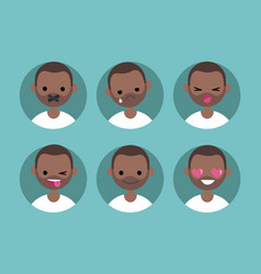 Young black man profile pics set of flat vector