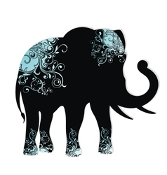 The silhouette of the elephant vector image