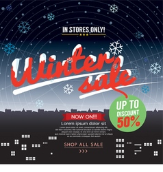 Winter sale up to 50 percent banner vector