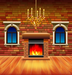 Vintage interior with wooden floor and fireplace vector