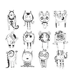 Cute monochrome collection with hand drawn doodle vector image