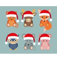 Funny animals in santa hats vector