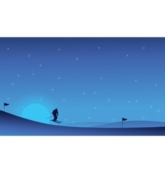 At night happy people skiing in snow landscape vector