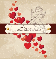 Valentines day amour with red hearts vector