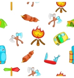 Campground pattern cartoon style vector image