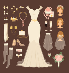 Wedding fashion bride dress doodle style bridal vector