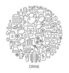Drink infographic icons in circle - concept line vector