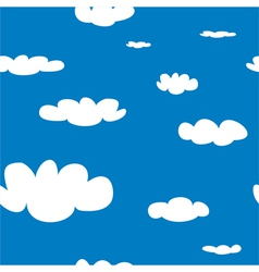 Seamless pattern with white clouds on blue sky bac vector