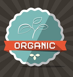 Organic blue retro label on brown background vector
