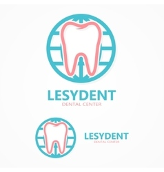 Logo tooth with world vector
