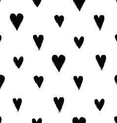 Seamless pattern with ink hearts vector