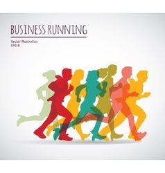 Color group people business running vector
