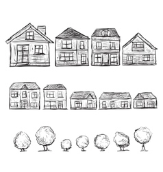 Set of hand drawn houses and trees vector
